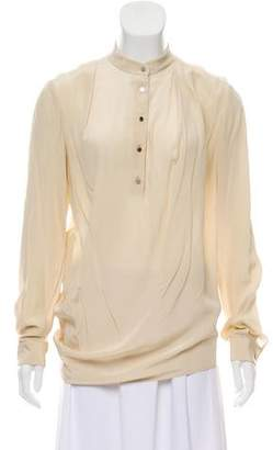 3.1 Phillip Lim Long Sleeve Collarless Blouse