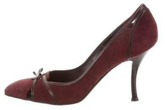 Christian Dior Suede Square-Toe Pumps