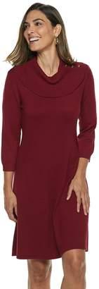 Dana Buchman Women's Button-Accent Cowlneck Sweater Dress