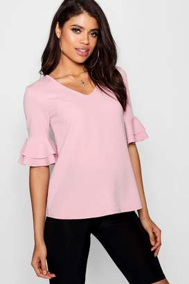 boohoo Maternity Ruffle Sleeve V Neck Top