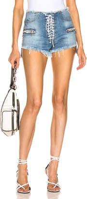Unravel Stonewash Lace Up Denim Shorts in Indigo | FWRD