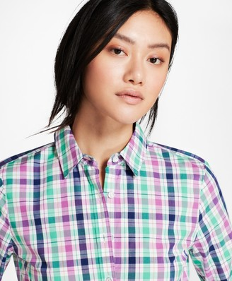 Brooks Brothers Plaid Stretch Cotton Poplin Fun Shirt