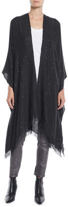 Brunello Cucinelli Cashmere/Silk Paillette Sequin Poncho Wrap with Fringe
