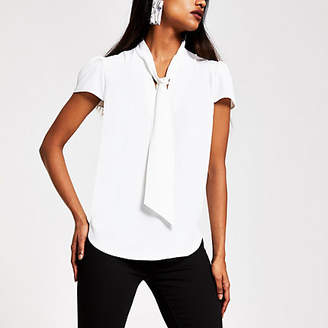River Island Petite white short sleeve tie neck blouse