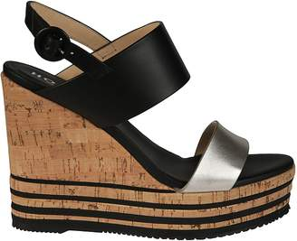 Hogan Striped Cork Platform Sandals
