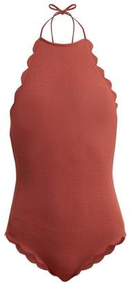 Marysia Swim Mott Scallop Edged Halter Swimsuit - Womens - Dark Pink