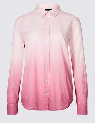 Marks and Spencer Pure Cotton Ombre Long Sleeve Shirt