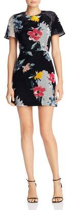 French Connection Edith Floral Velvet Dress