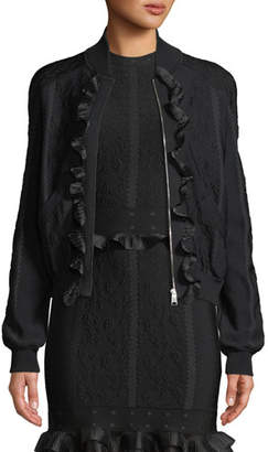 Alexander McQueen Cage Jacquard Zip-front Bomber Jacket with Ruffle Trim
