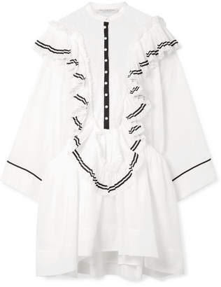 Philosophy di Lorenzo Serafini Ali Ruffled Cotton-voile And Point D'esprit Mini Dress - White