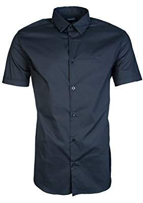 Armani Jeans Men's Slim Fit Stretch Poplin Short Sleeve Button Down Shirt
