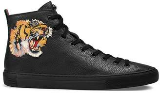 Gucci Leather high-top sneaker with tiger