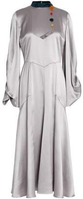 Roksanda Embellished Hammered Silk-Satin Midi Dress