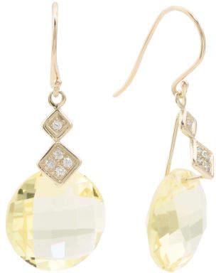 Made In Israel 14k Gold Diamond And Lemon Quartz Earrings