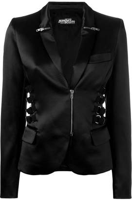 Jeremy Scott zip & strap detail blazer