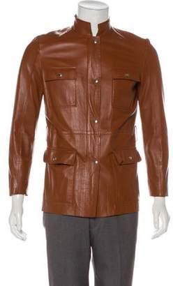 Bruno Magli Leather Zip-Up Peacoat