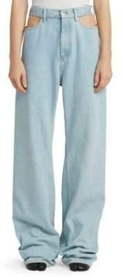 Maison Margiela Women's Baggy Cut-Out Jeans - Denim - Size 40 (4)