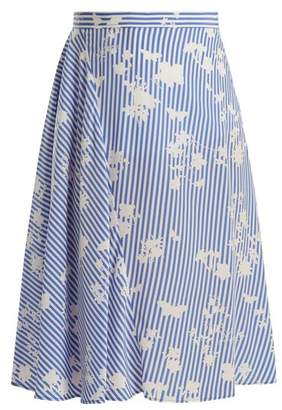 Altuzarra Sundew Stripe Print Fluted Silk Skirt - Womens - Blue White