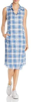 BILLY T Plaid Frayed-Hem Midi Dress