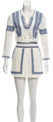 Veronica Beard Embroidered Silk Mini Dress