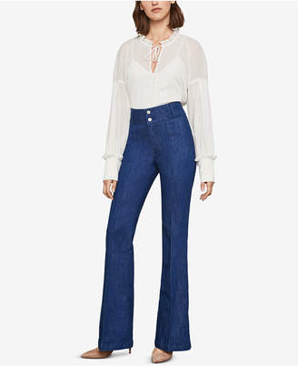 BCBGMAXAZRIA Pintuck Flared Jeans