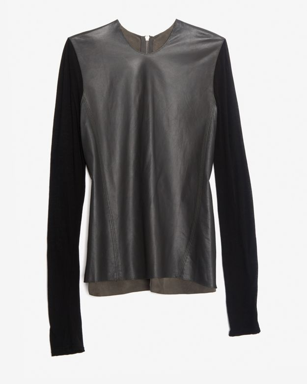 Helmut Lang Smooth Leather Combo Tee