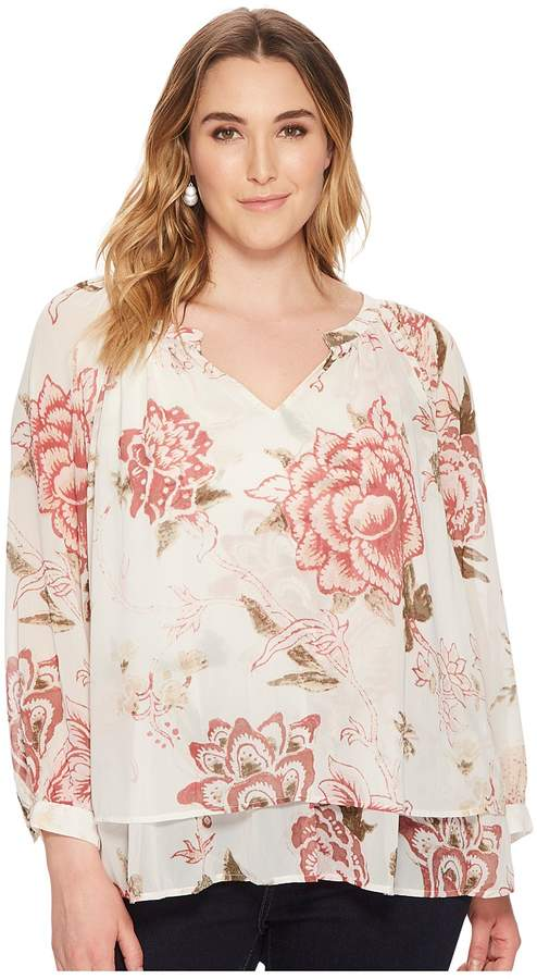 Plus Size Jenna Peasant Top Women's Long Sleeve Pullover