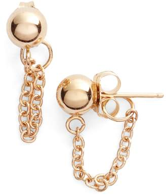 Poppy Finch Gold Ball Chain Earrings