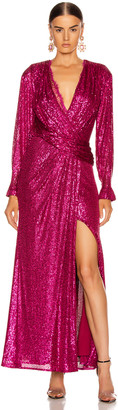 Jonathan Simkhai Sequin Draped Front Gown in Magenta Combo | FWRD
