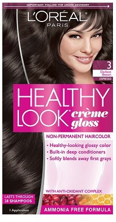 L'Oreal Healthy Look Creme Gloss Hair Color Darkest Brown Espresso 3