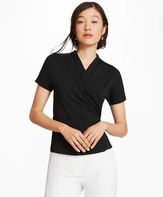 Brooks Brothers Jersey Faux Wrap Top