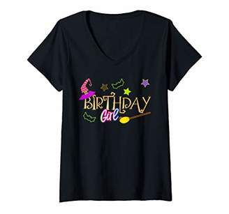 Womens Funny Halloween Witch Birthday Party Girl V-Neck T-Shirt