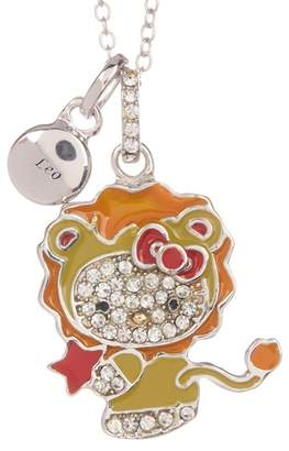 Hello Kitty Zodiac Sterling Silver Pave Crystal Enamel Leo Pendant Necklace