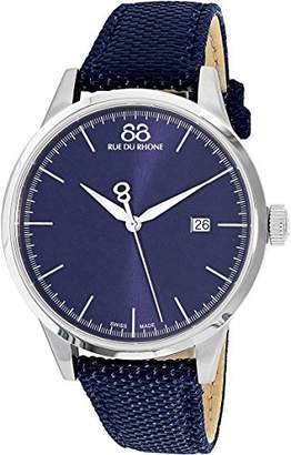 88 Rue du Rhone Men's 'Rive' Swiss Quartz Stainless Steel and Leather Dress Watch
