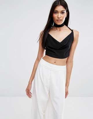 Missguided Cowl Tab Neck Crop Top