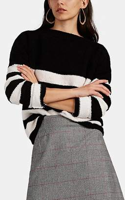 ATM Anthony Thomas Melillo Women's Block-Striped Chenille Crewneck Sweater - Blk. stripe