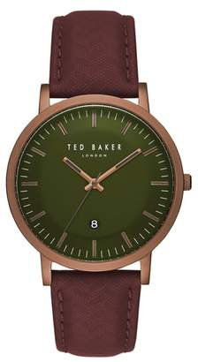 Ted Baker David Leather Strap Watch, 40mm