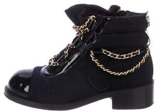 Chanel Cap-Toe Chain-Link Ankle Boots