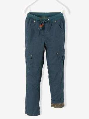 Vertbaudet Boys' Combat-Style Trousers Lined with Jersey Knit Fabric