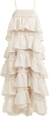 Isa Arfen Tiered-ruffle ramie dress