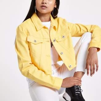 River Island Womens Petite Yellow cropped denim jacket