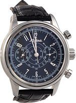 Alpina Heritageパイロットブラックダイヤルレザーストラップメンズ腕時計al860g4h6