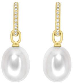Kiki McDonough 18K Yellow Gold & Detachable Pearl Earrings with Diamonds