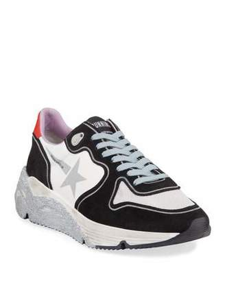 Golden Goose Glittered-Sole Lace-Up Running Sneakers