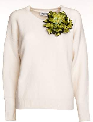 Essentiel Antwerp Oversized Wool Blend Sweater Flower Brooch