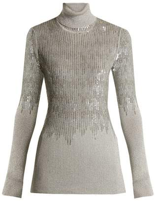 Missoni Roll Neck Sequin Embellished Ribbed Knit Sweater - Womens - Silver