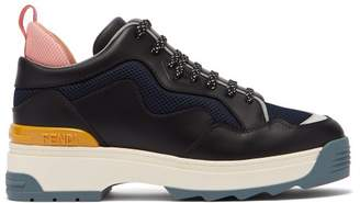 Fendi T Rex Low Top Leather Trainers - Womens - Black Multi