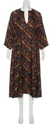 Isabel Marant Printed Long Sleeve Midi Dress