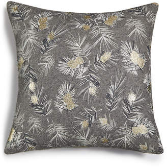 Holiday Lane Pinecone Printed Square Pillow, Created for Macy's