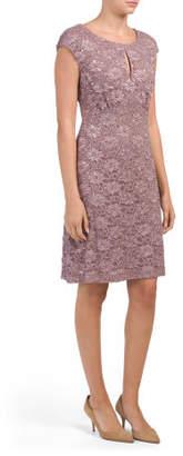 Keyhole Sequin Lace Dress